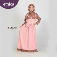 READY SALE gamis anak OSK 68 coklat No.6 by Ethica