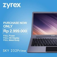 Laptop Zyrex Sky 232 Prime Intel N3350 RAM 3GB - 32GB eMMC Berkualitas