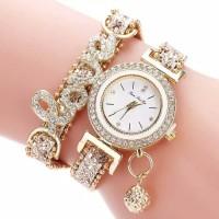 jam tangan fashion quart strap gelang eksan berlian-Emas