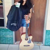 """(Only Gojek) """"Hot Promo"""" Gitar Akustik Folk Pemula Mantap & Praktis - Ivory"""