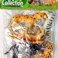 set miniatur wild animal mainan hewan kebun binatang karet isi 6 pcs