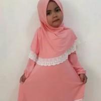 Gamis anak busana muslim anak perempuan model renda terbaru