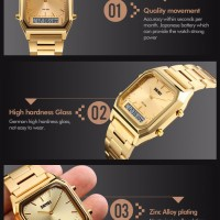 Jam Tangan Pria Original SKMEI 1220 Gold Casio Water Resist 30M