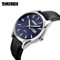 Jam Tangan Pria SKMEI 9125 (Leather) Original Water Resist 30M - Blue