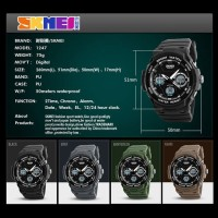Jam Tangan Pria Sport Dual Time Original SKMEI 1247 Anti Air - Brown