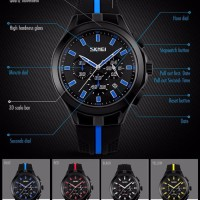 Jam Tangan Pria Casual Original SKMEI 9135 Anti Air 30M - Black Blue