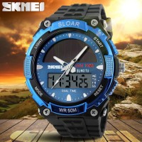Jam Tangan Pria Original Solar Power SKMEI 1049 Anti Air 50M - Silver