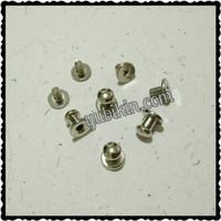 12 Piece Baut Pentol 6mm Silver Nikel Untuk Kaitan Gelang Kulit