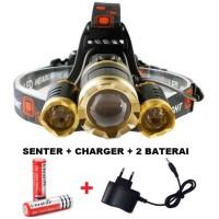 PROMO PAKET Senter kepala LED / Headlamp LED Cree XML T6 10000 Lumens