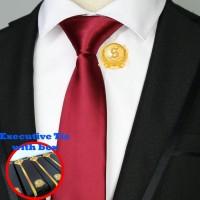 dasi silk satin istimewa slim dan standart polos kilap merah maroon