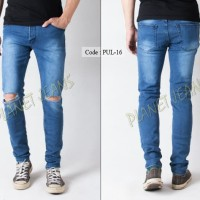 Harga celana jeans pria sobek robek lutut model skinny untuk cowok c | Pembandingharga.com