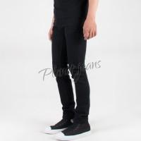 Harga celana jeans skinny nudle full black denim pensil cowok pria | Pembandingharga.com
