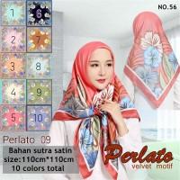 Jilbab Segi Empat Satin Velvet Motif Polkadot Bunga seri : PERLATO 09