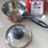 Panci Saucepan 16cm Stainless Steel Tutup Kaca Golden FF SPC0216