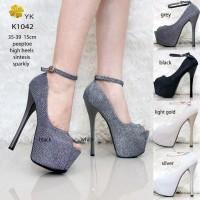 8fab7675970 YKshoes 1042 high heels 15cm 15 cm peep toe shoes import sepatu wanita