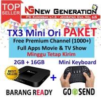 Paket Android Tv Box TANIX TX3 mini RAM 2GB ROM 16GB + Mini Keyboard