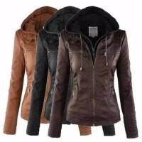 Jaket Kulit wanita pu leather jacket semi kulit korea