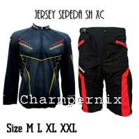 Baju Jersey Kaos Sepeda Panjang XC plus celana sepeda padding