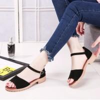 Adelioshoes- Sandal Wanita Wedges / Sandal Flats Gesper Adl840 Hitam