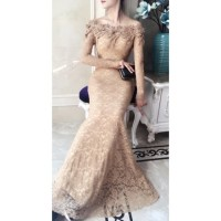 Pakaian Pesta Dress Brukat Fashion Party Panjang Baju Gaun Murah Maxi
