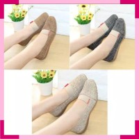 Sandal Selop Hitam KODORAI Wanita Flat Shoes Cewek Perempuan Bola Bola