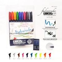 Tombow Fudenosuke Colors Brush Pen Hard Set 10 Warna Gift Box