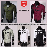 Harga sale kemeja slimfit pria pm ftd baju cowok formal semi casual katun | Pembandingharga.com