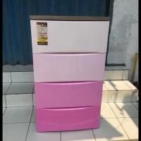 TERLENGKAP lemari plastik 4 laci olymplast warna pink ODC M 04 TERBARU
