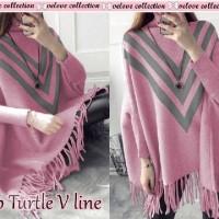 Top Turtle V Line/Blouse Babyterry Tebal/Sweater Batwing/Atasan Rumbai