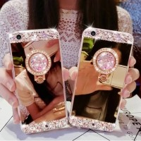 Case iPhone 8 Plus Luxury Diamond Crystal Soft Mirror Cover Ring 8Plus
