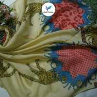 jilbab kerudung hijab Segi Empat motif warna gold platinium Edge murah