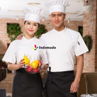 Indomada Seragam Baju Koki Chef Dewasa Profesional Chef Apparel Unisex