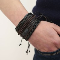 Man European Hot Retro Multilevel Cowhide Handmade Woven Bracelet