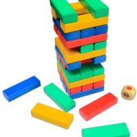 Mainan Anak Kayu - Menara Rubuh (Tumbling Tower) / UNO Stacko Kayu