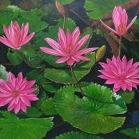 Jual Jual Lukisan Bunga Teratai Kota Surakarta Marlin Gallery Tokopedia