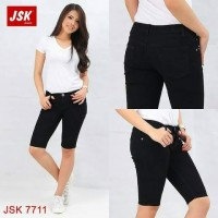 Celana Pendek 3/4 Polos Jeans Wanita JSK 4 Varian Warna