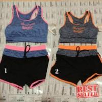 [Ghinarr Shop]   stelan senam import   sport bra+hotpants   zumba  