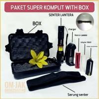 Paket combo Senter E17 lantera COB LED Torch Cree XM-L T6 8000 Lumens