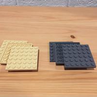 LEGO PART Tan Dark Grey - Plate 6X6 - 6 x 6