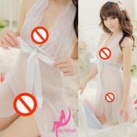 Big Sale Sexy Lingerie Set Sleep Wear Transparant Import Putih L024 -