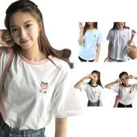 Kaos T Shirt O Neck Lengan Pendek Warna Putih Polos Gaya Korea