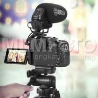 BOYA BY-BM3031 supercardioid condenser shotgun microphone on camera