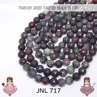 Code 717 Maroon Green Faceted beads 10mm