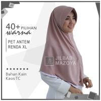 Jilbab Instan Pet Antem Renda XL / Hijab Kaos Bergo Pet Renda Size XL