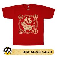 Jual 11dw Size S dan M Baju Kaos Imlek 2019 Motif Shio Babi Murah