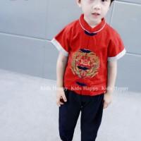 Stelan Pra Remaja laki laki Fashion CNY Imlek Merah Hitam