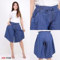 Celana Pendek 3/4 Kulot Pinggang Karet Jeans Wanita Denim Modis Trendy