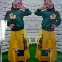 Set Haruka Kid/Atasan Combat+Rok Katun Line/Setelan Muslim Anak