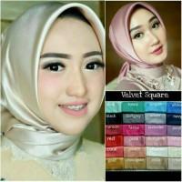 Kerudung Jilbab Satin velvet Segiempat Premium polos satin velvet