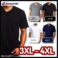 KOMPLIT Baju Kaos Polos V-Neck Kaos Oblong Distro Jumbo Big Size XXL